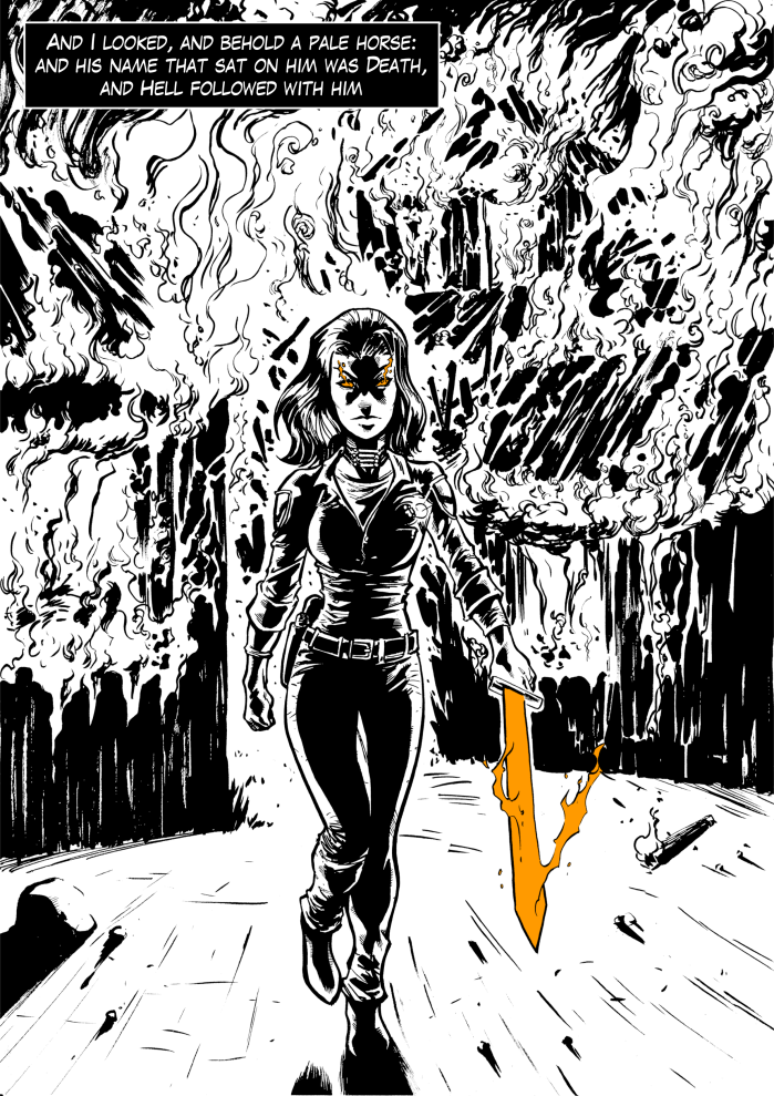Vengeance, Nevada Issue #1, Page 1. Written by B.J. Mendelson. Art and letters by Piotr Czaplarski