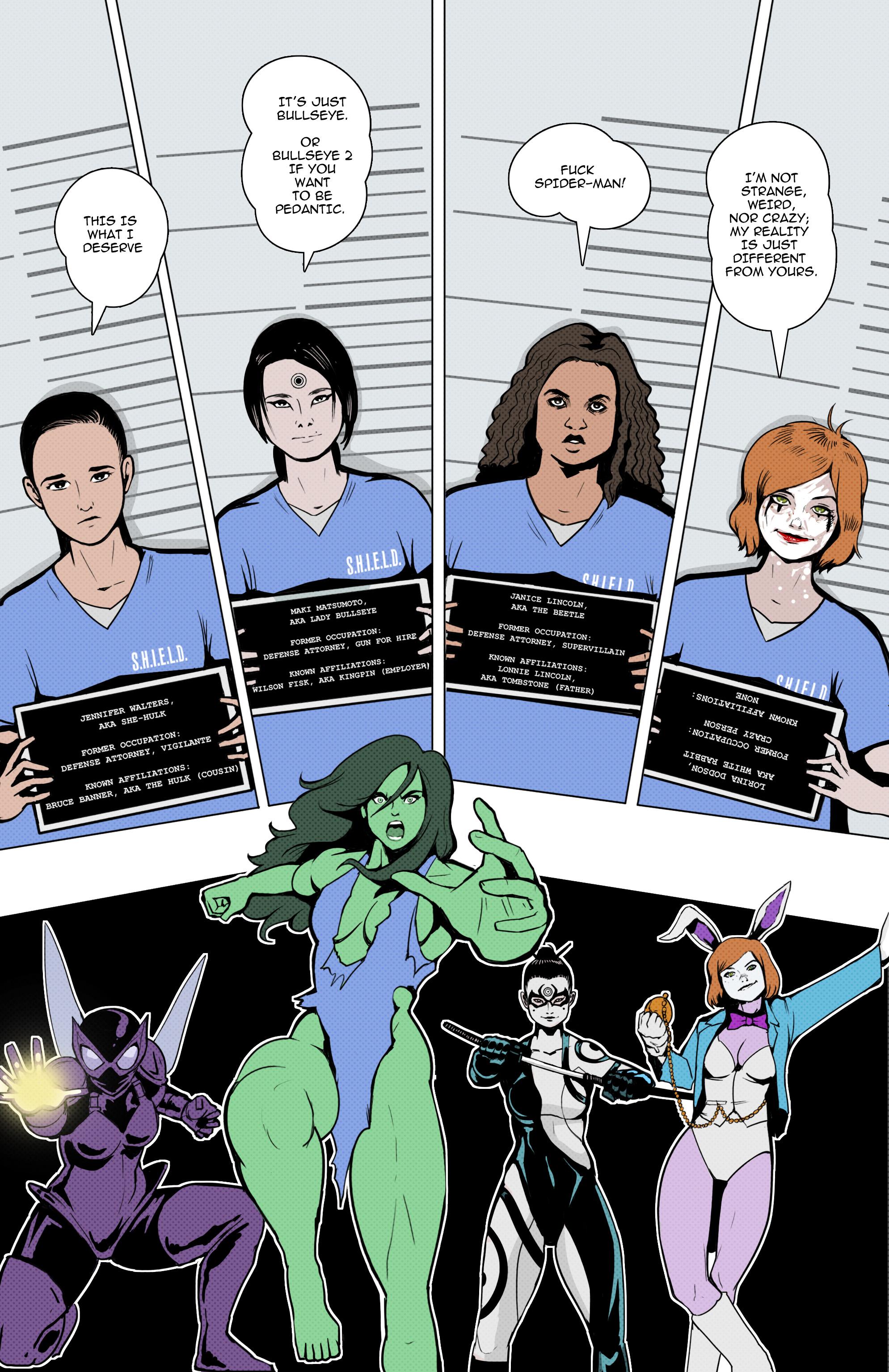 Meet the cast of BJ Mendelson's She-Hulk: Beetle, Lady Bullseye, White Rabbit, and She-Hulk!